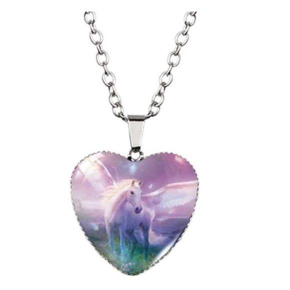 Pegasus Heart Lavender Necklace